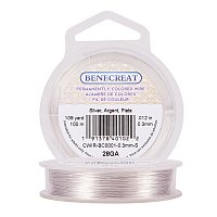 BENECREAT 28-Gauge Tarnish Resistant Silver Coil Wire, 328-Feet/109-Yard