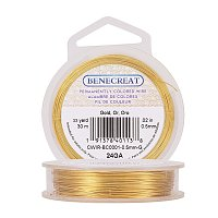 BENECREAT 24-Gauge Tarnish Resistant Gold Wire, 98-Feet/33-Yard