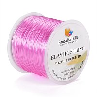 PandaHall Elite 0.8mm Pink Elastic Stretch Polyester Threads Jewelry Bracelet Beading String Cords, about 60m/Roll