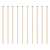"""BENECREAT 100PCS  Real Gold Plated Flat Head Pins 21 Gauge Satin Pins for DIY Jewelry Making Findings - 45mm (1.8"""") Long"""