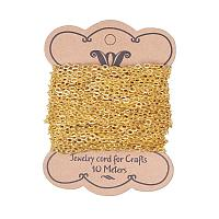 ARRICRAFT 10m(32.80 feet) Golden Color Iron Cross Chains for Necklace Jewelry Accessories DIY Making-4.1x3x0.8mm