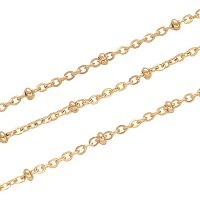 NBEADS 1m/1.09 Yards Golden Color Soldered 304 Stainless Steel Cable Chains Jewelry Making Chains Necklace Link Cable Chain Satellite Chains with Rondelle Beads for DIY Jewelry Making