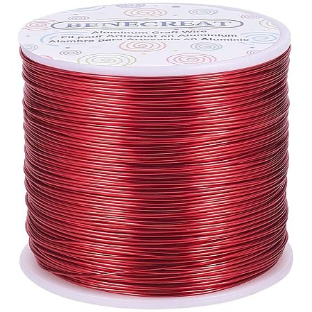 BENECREAT 20 Gauge 770FT Aluminum Wire Anodized Jewelry Craft Making Beading Floral Colored Aluminum Craft Wire - FireBrick