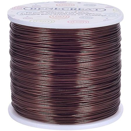 BENECREAT 20 Gauge 770FT Aluminum Wire Anodized Jewelry Craft Making Beading Floral Colored Aluminum Craft Wire - Brown