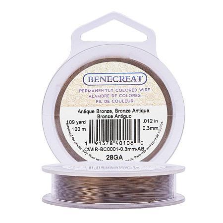 BENECREAT 28-Gauge Tarnish Resistant Antique Bronze Wire, 328-Feet/109-Yard
