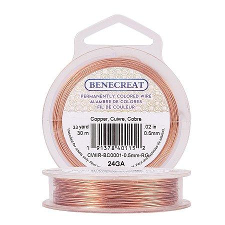 BENECREAT 24-Gauge Tarnish Resistant Copper Wire, 98-Feet/33-Yard