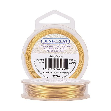 BENECREAT 22-Gauge Tarnish Resistant Gold Wire, 66-Feet/22-Yard