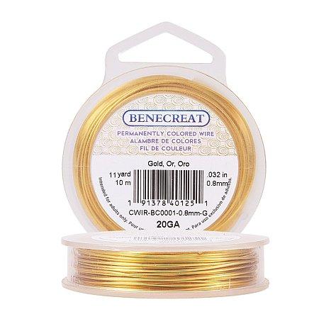 BENECREAT 20-Gauge Tarnish Resistant Gold Wire, 33-Feet/11-Yard