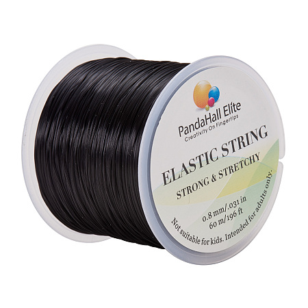 PandaHall Elite 0.8mm Black Elastic Stretch Polyester Threads Jewelry Bracelet Beading String Cords, about 60m/Roll