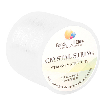 PandaHall Elite 0.8mm Crystal Polyester Threads Jewelry Bracelet Transparent Beading String Cords 100m/Roll