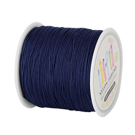 ARRICRAFT 1 Roll(about 90m, 100 Yards) 0.8mm Nylon Beading String Knotting Cord, Chinese Knotting Cord Nylon Shamballa Macrame Thread Beading Cord (PrussianBlue)