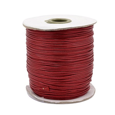NBEADS 185yards/roll Leather Sewing Stitching Flat Waxed Polyester Cord, Bead Cord, FireBrick, 0.5mm in Diameter