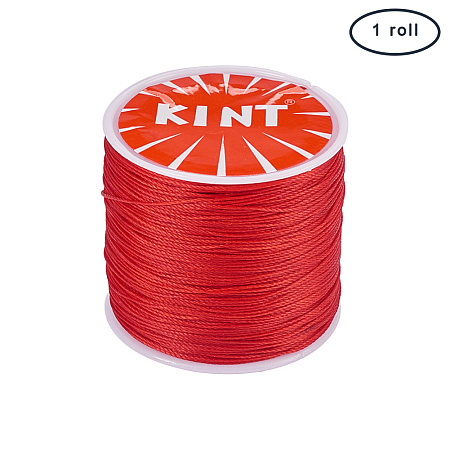 PandaHall Elite 1 Roll 0.5mm Round Waxed Cotton Cord Thread Beading String 116 Yards per Roll Spool for Jewelry Making and Macrame Supplies Red
