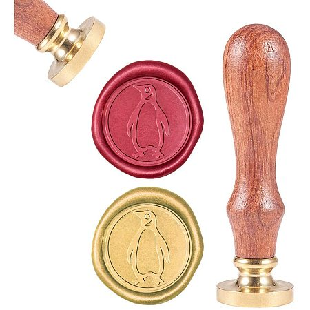 CRASPIRE Wax Seal Stamp, Sealing Wax Stamps Penguin Retro Wood Stamp Wax Seal 25mm Removable Brass Seal Wood Handle for Envelopes Invitations Wedding Embellishment Bottle Decoration Gift Packing
