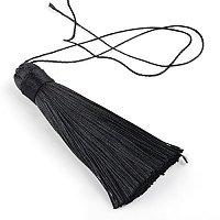 NBEADS 20 Pcs Polyester Tassel Pendant Decorations, Black, 77~81x12~13mm