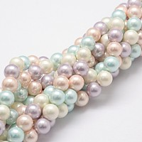 ARRICRAFT Shell Pearl Bead Strands, Grade A, Round, Mixed Color, 8mm, Hole: 1mm, about 54pcs/strand, 16 inches