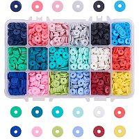 Arricraft 3600 pcs 18 Colors 8mm Flat Round Polymer Clay Spacer Beads Colorful Loose Beads for Earring Bracelet Necklace Jewelry DIY Craft Making