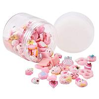 PandaHall Elite About 100pcs Pink Mixed Shape Candy & Cake Resin Flatback Cabochons for DIY Scrapbooking Craft Jewelry Making