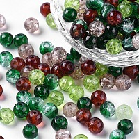 Arricraft Baking Painted Crackle Glass Beads, Choc-Mint Mix, Round, Mixed Color, 6~6.5x5.5~6mm, Hole: 1mm, about 200pcs/bag