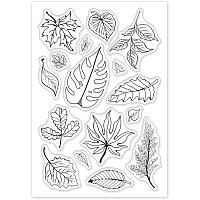 GLOBLELAND Leaves Clear Stamps Silicone Stamp Cards Tree Leaf Clear Stamps for Card Making Decoration and DIY Scrapbooking