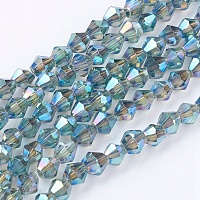 Arricraft Electroplate Glass Beads Strands, Full Plated, Faceted, Bicone, Teal, 3x3mm, Hole: 1mm, about 128~135pcs/strand, 13.8