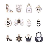 PandaHall Elite 48pcs 12 Style Women Enamel Pendants Charms Light Gold Plated Pendants Beads for Mother's Day Earring Necklace Bracelet Making(Bowknot, Handbag, Flower, Crown, High-Heeled Shoes)