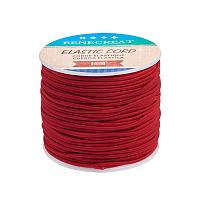 BENECREAT 2mm 55 Yards Elastic Cord Beading Stretch Thread Fabric Crafting Cord for Jewelry Craft Making (Dark Red 1)