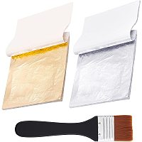 Pandahall Elite Gold Leaf Sheets, 100pcs Imitation Golden Silver Leaf Foil Paper with Brushes for Arts, Gilding Crafting, Decoration, Frames, Resin Jewelry Making, Nail Art, Slime, 5.5 by 5.5 Inches