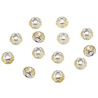 NBEADS 100Pcs Crystal Glass Charms, Faceted Lampwork Beads Large Hole European Charms Beads fit Bracelet Jewelry Making