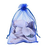 ARRICRAFT 100 PCS 5x7 inch Blue Organza Drawstring Bags Party Wedding Favor Gift Bags