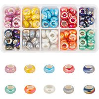PandaHall Elite 12mm Large Hole Beads, 100pcs 10 Color Electroplate Porcelain Rondelle Beads Snake Chains Spacers for European Bracelet Charm Making