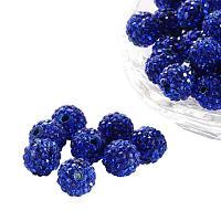 ARRICRAFT 100 Pcs 10mm Sapphire Shamballa Pave Disco Ball Clay Beads, Polymer Clay Rhinestone Beads Round Charms Jewelry Makings