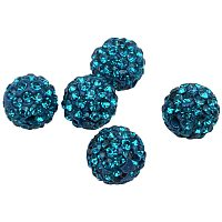 Pandahall Elite About 100 Pcs 12mm Clay Pave Disco Ball Czech Crystal Rhinestone Shamballa Beads Charm Round Spacer Bead for Jewelry Making, Blue