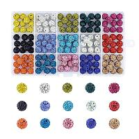 ARRICRAFT 1 Box 100 Pcs 10mm Shamballa Pave Disco Ball Clay Beads, Polymer Clay Rhinestone Beads Round Charms Jewelry Makings