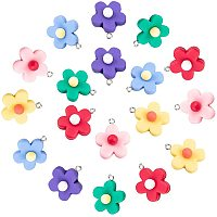 NBEADS 120 Pcs Flower Shape Resin Pendant Charms, 6 Colors Opaque Resin Jewelry Making Pendants with Platinum Plated Iron Findings for DIY Earring Necklace Bracelet Projects