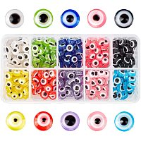 NBEADS 300 Pcs 10 Colors Resin Evil Eye Beads, 10mm Flat Round Evil Eye Charms for DIY Jewelry Making