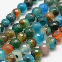 """Nbeads Faceted Natural Agate Beads Strands, Round, Dyed & Heated, Colorful, 8mm, Hole: 1mm; about 47pcs/strand, 14""""(35.6cm)"""