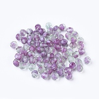 Nbeads Czech Fire Polished Glass Beads, Faceted, Drum, MediumOrchid, 6x6mm, Hole: 1mm; about 37pcs/10g