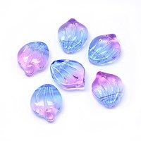 Nbeads Glass Charms, Petal/Shell, Colorful, 15x12x4mm, Hole: 1mm