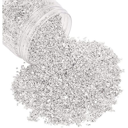 OLYCRAFT Glass Chip Beads, No Hole, Nail Art Decoration Accessories, Silver, 0.3~5x0.3~5x0.3~5mm, 0.5bag/box