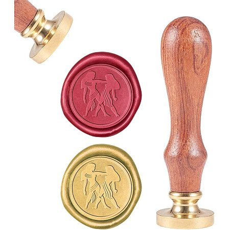 CRASPIRE Wax Seal Stamp, Sealing Wax Stamps Gemini Retro Wood Stamp Wax Seal 25mm Removable Brass Seal Wood Handle for Envelopes Invitations Wedding Embellishment Bottle Decoration Gift Packing