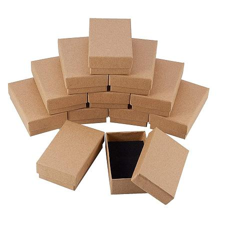 NBEADS 24 Pcs Tan Cardboard Jewelry Box Rectangle Kraft Paper Gift Boxes for Rings, Pendants, Necklaces