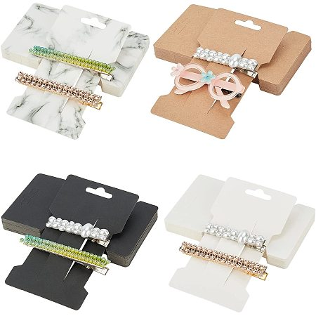 NBEADS 120 Pcs Hair Clip Display Cards, 4 Colors Bow Packaging Cards Kraft Hairpin Display Cards for Hair Hair Accessories, 6.6cmx11.5cm
