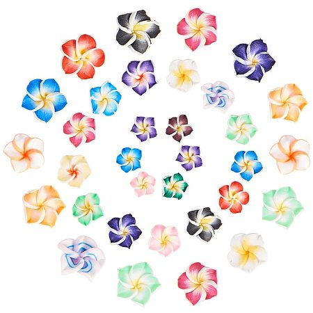 NBEADS 90 Pcs 8mm/10mm Handmade Polymer Clay 3D Flower Plumeria Beads, Mixed Color 5-Leaves Flower Spacer Loose Beads Floral Spacer Slime Charms for DIY Jewelry Making Scrapbooking Home Decor