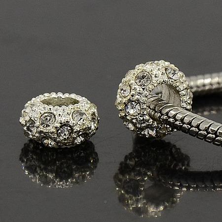 PandaHall Elite 100PCS 11x6mm Silver Alloy Crystal Rhinestone Beads Large Hole European Beads for Jewelry Making