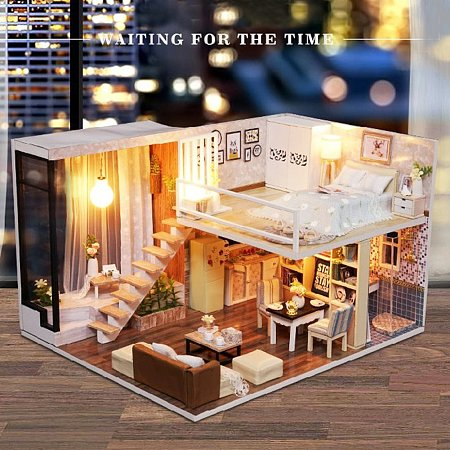 NBEADS DIY Mini House Handmade Assembled Toy Dollhouse Hut Villa Miniature Home Model, Best Birthday Christmas Gift for Boys and Girls