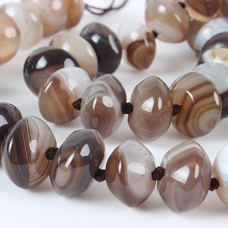 NBEADS Glossy Dyed Natural Agate Rondelle Bead Strands, RosyBrown, 14x8mm, Hole: 1mm, about 40pcs/strand, 16.15