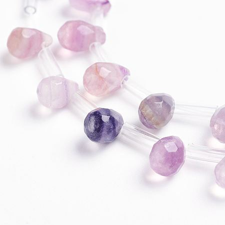 NBEADS Natural Fluorite Beads Strands, Drop, Faceted, 9x6mm, Hole: 1mm; about 38~44pcs/strand, 16.1