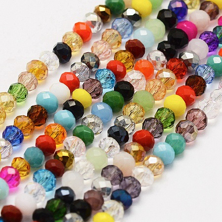 Electroplate Glass Beads Strands, AB Color Plated, Faceted, Rondelle, Colorful, 4x3mm, Hole: 1mm; about 130~140pcs/strand, 15.3