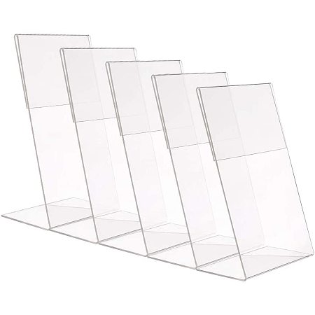 PH PandaHall 10 Pack Acrylic Sign Holder Slant Back, 4x6 inches Table Top Display Menu Stand Portrait Ad Picture Frame Holder Paper Display Stand for Home, Office, Store, Restaurant